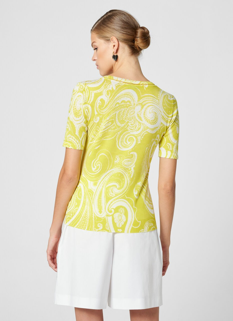 ESCADA Wool Silk Paisley Print Sweater