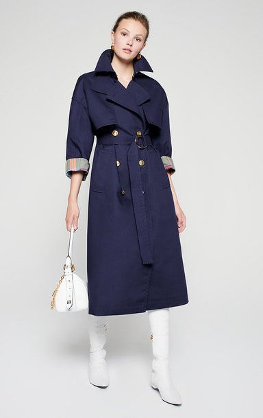 Bonded Cotton Blend Trench Coat - ESCADA ?id=16401125605508