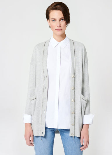 ESCADA Crystal Chain Cotton Cashmere Cardigan