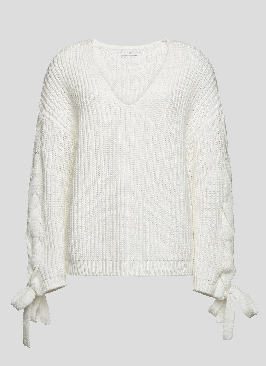 ESCADA Cotton Tie-Sleeve Sweater