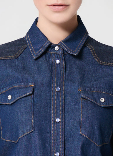 ESCADA Two Tone Denim Blouse