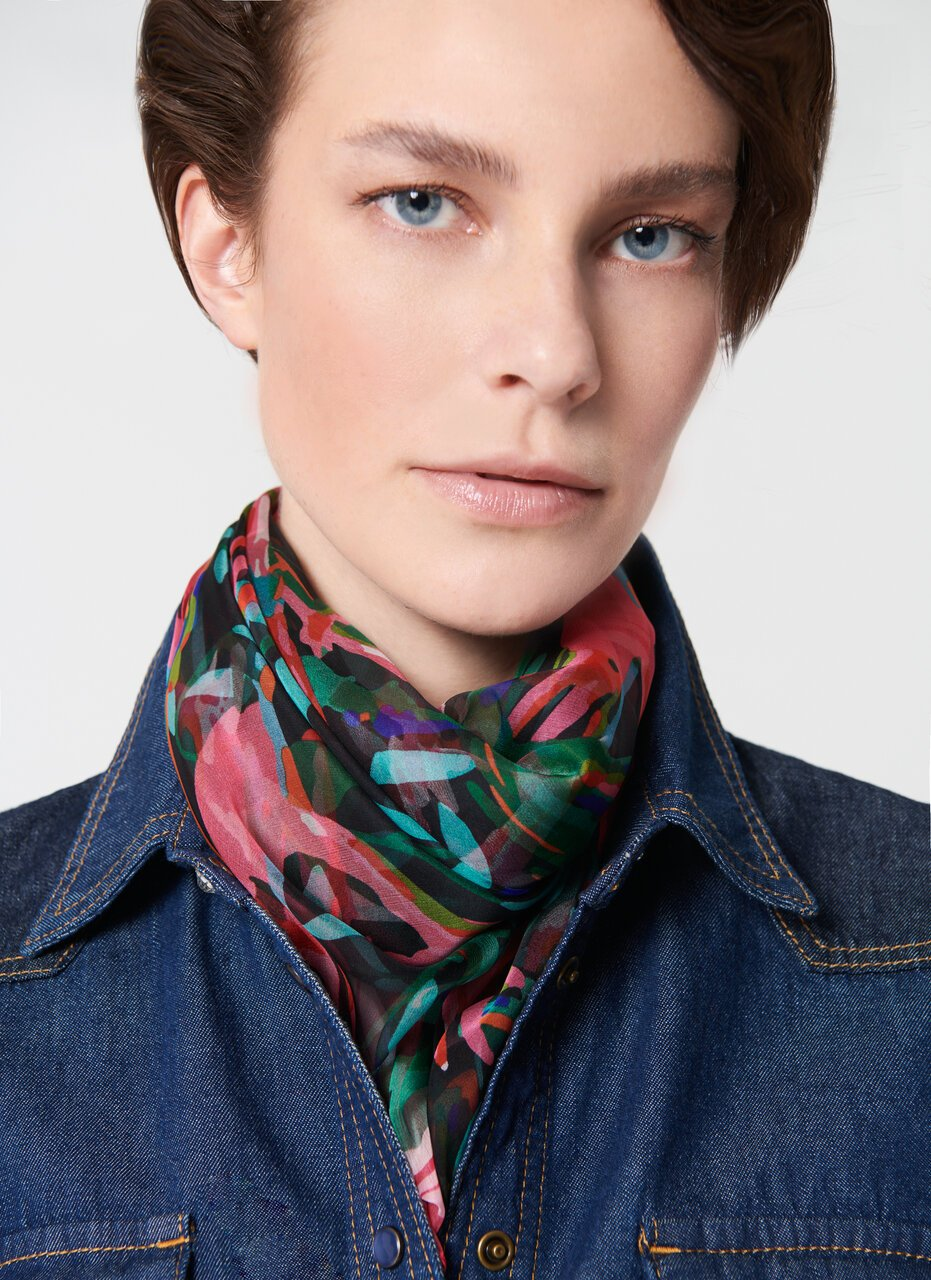 ESCADA Bird Printed Silk Scarf