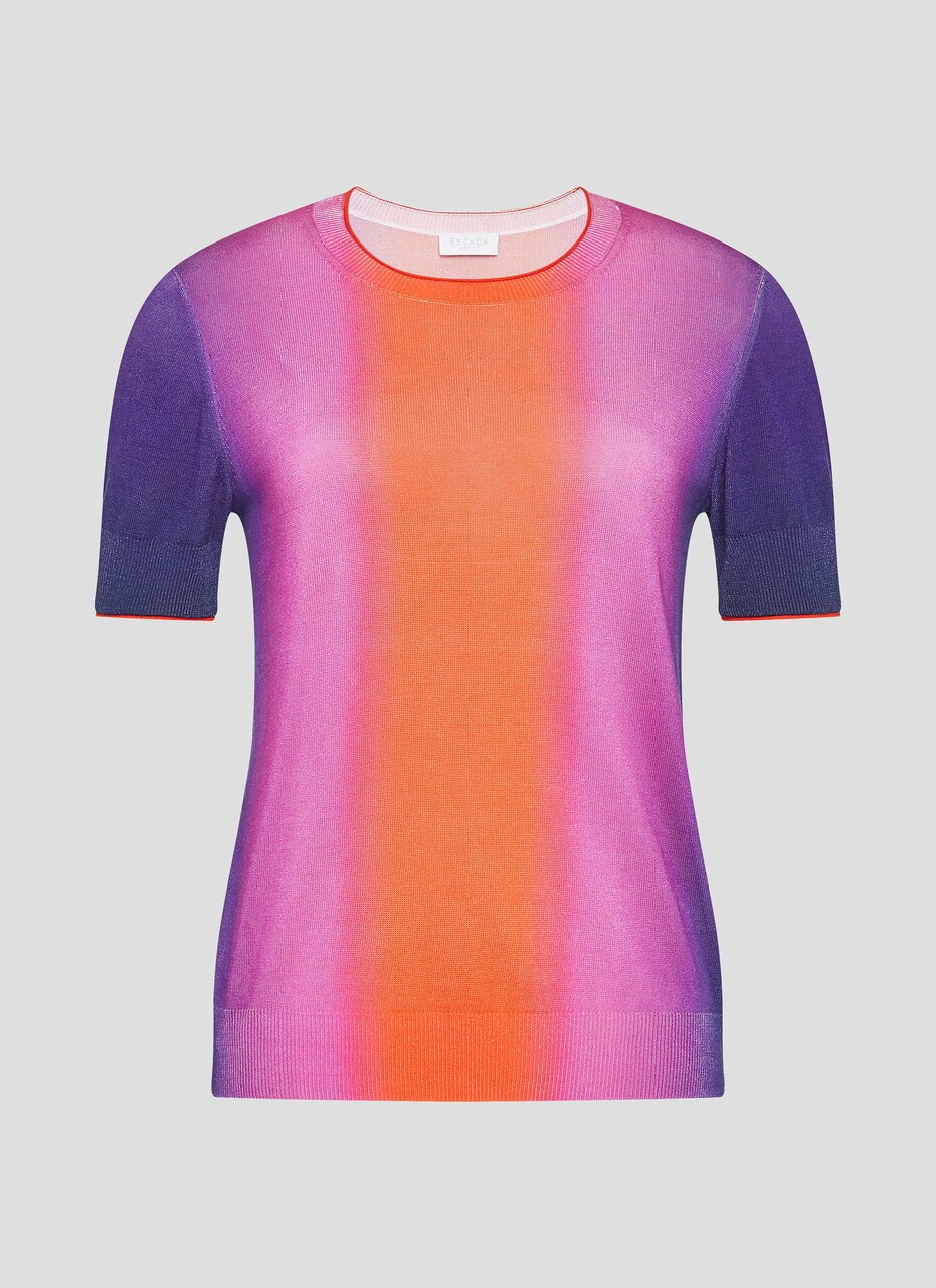 ESCADA Multicolor Ombré Short-Sleeve Sweater