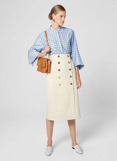 ESCADA Cotton Gabardine Buttoned Skirt