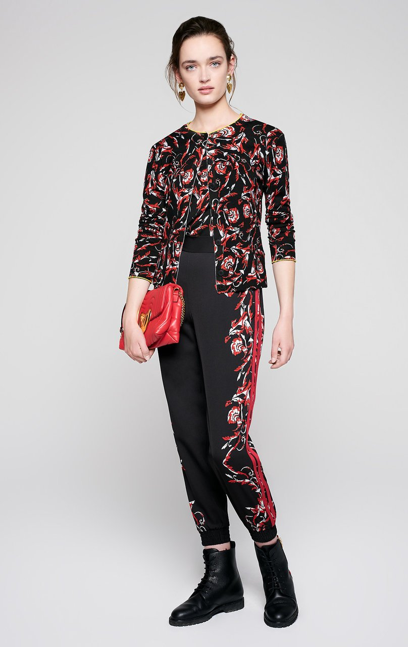 ESCADA Embroidered Floral Print Sweater