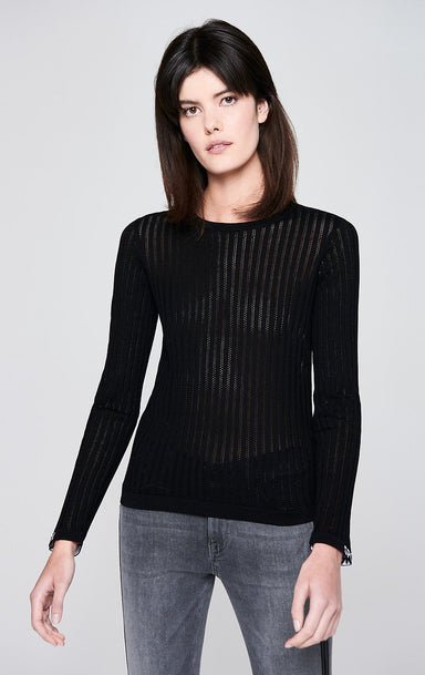 ESCADA Ajour Stripe Cotton Sweater