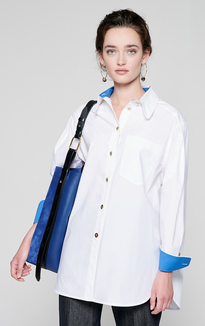 ESCADA Cotton Poplin Contrast Trim Shirt