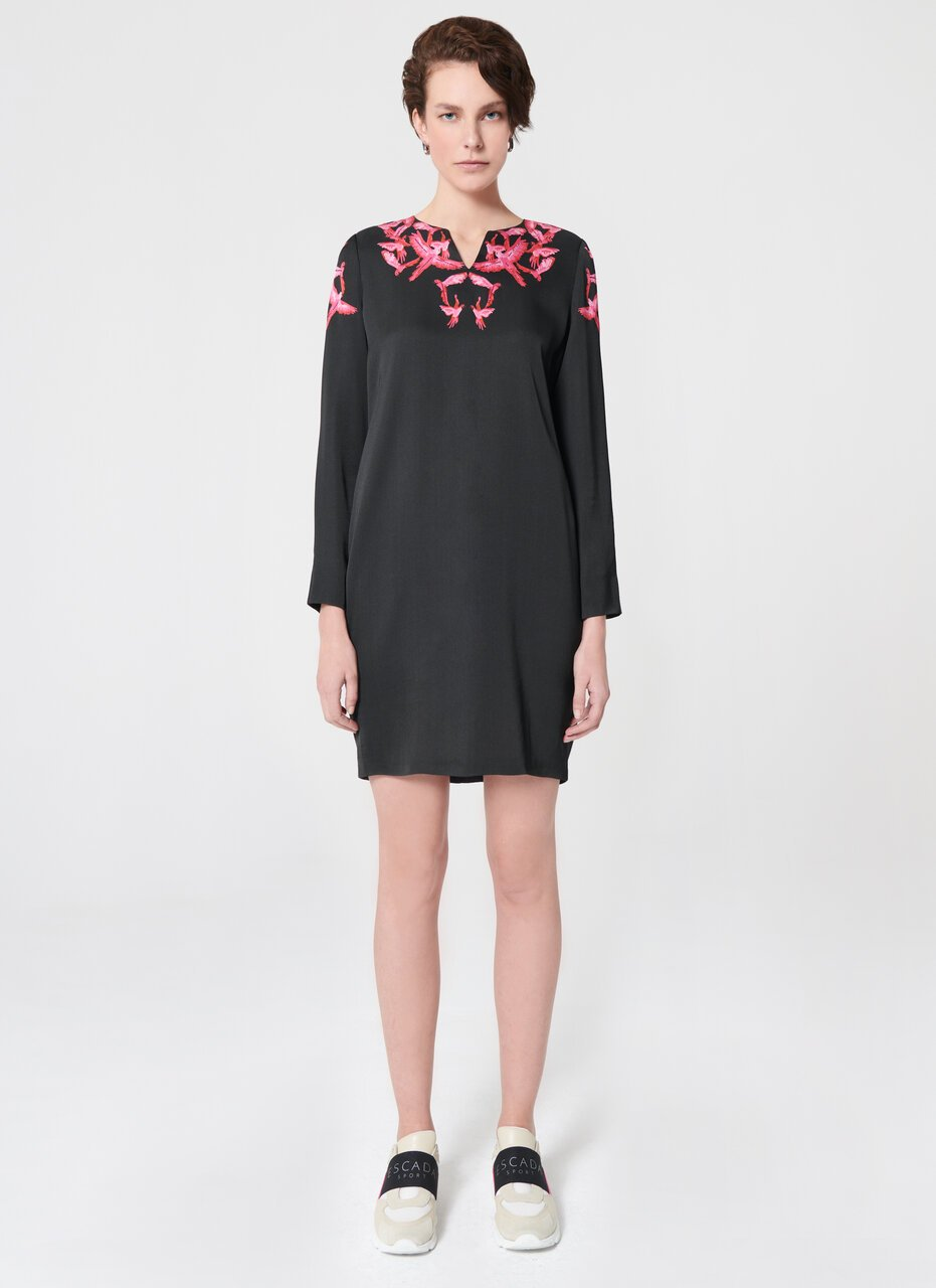 ESCADA Bird Print Viscose Crêpe Dress