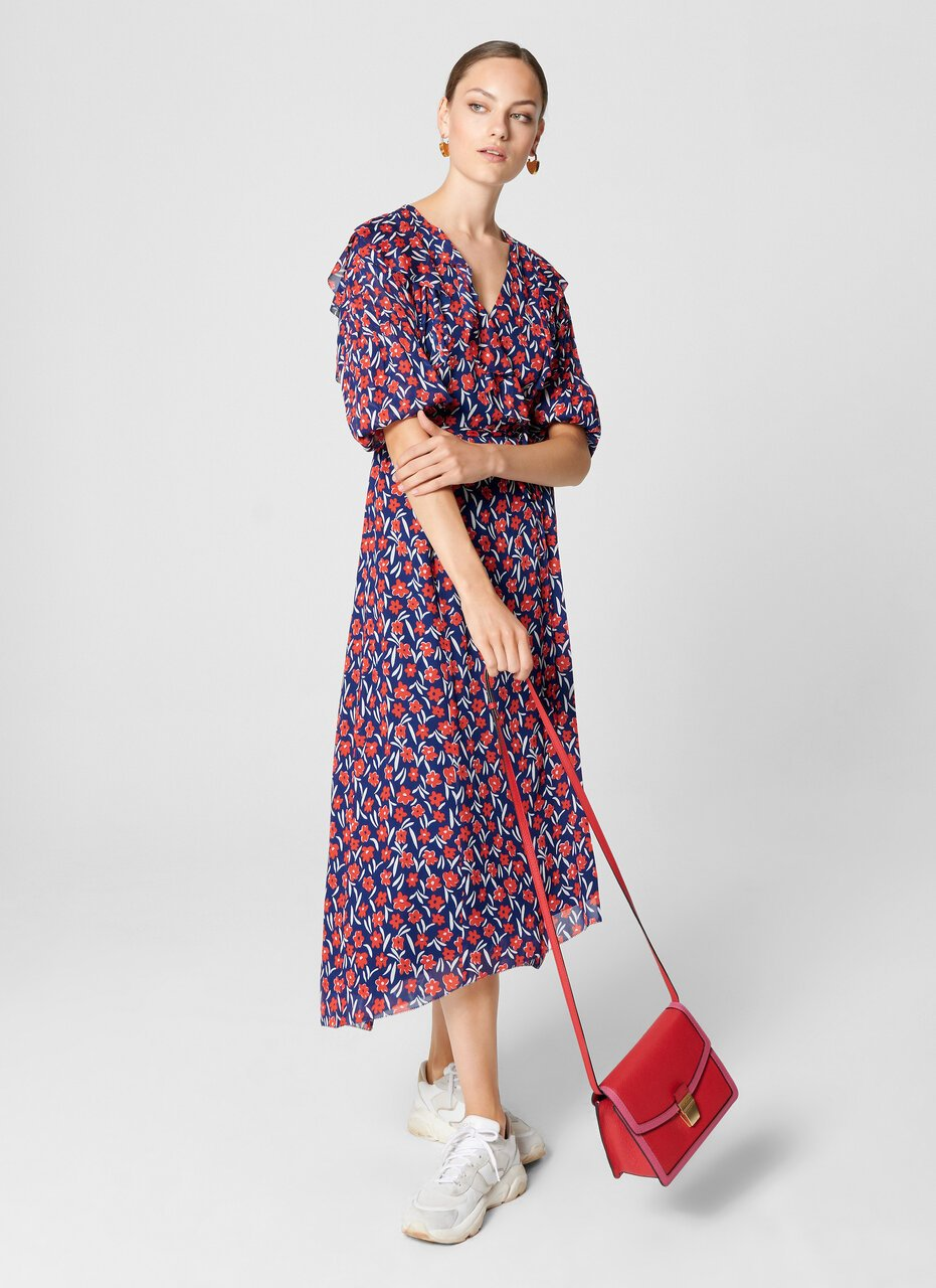ESCADA Floral Ruffle Wrap Dress