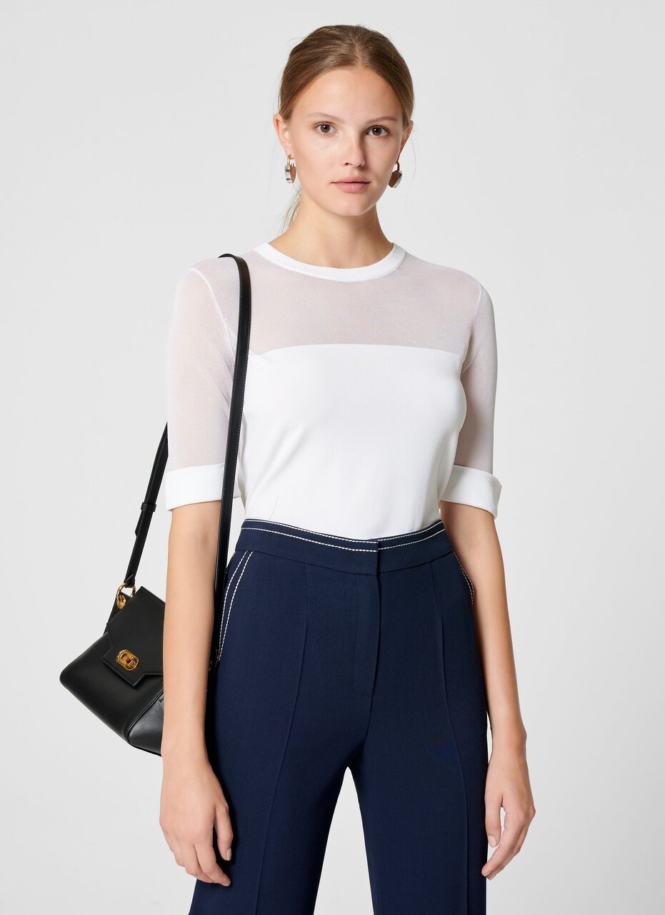 ESCADA Material Mix Short-Sleeve Sweater