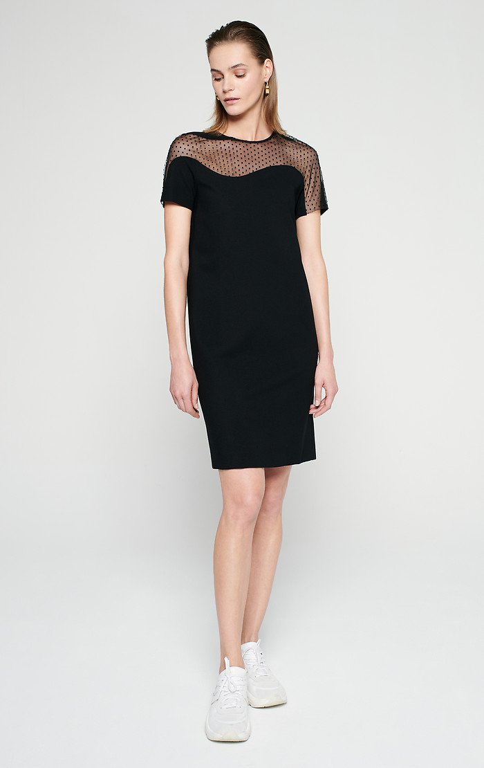 ESCADA Jersey and Tulle Short-Sleeve Dress