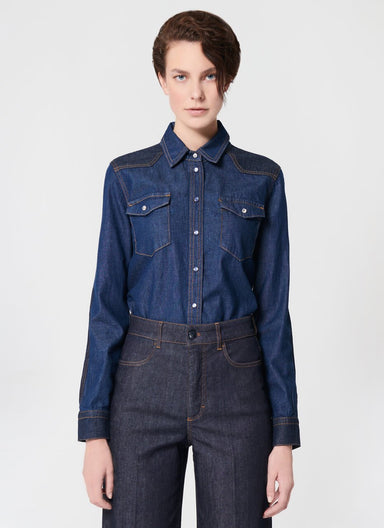 Two Tone Denim Blouse - ESCADA