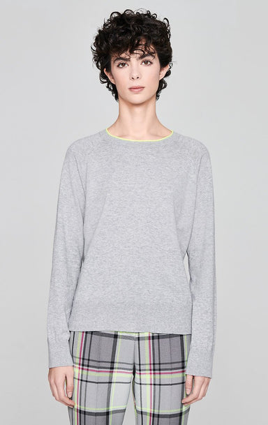 ESCADA Cotton Blend Contrast Trim Sweater