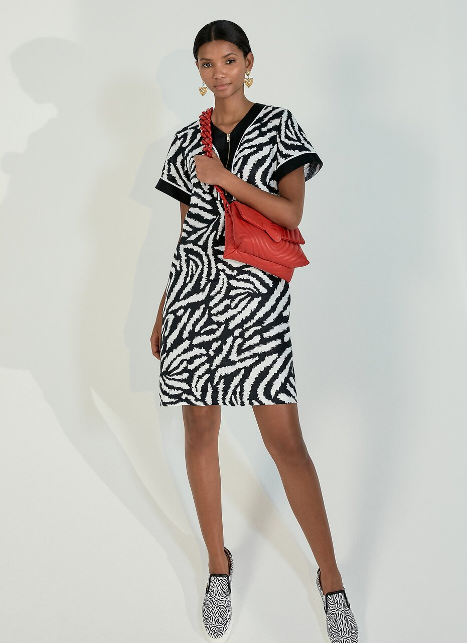ESCADA Linen Zebra Print Dress