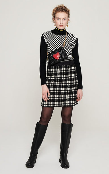 Wool Check Tweed Skirt