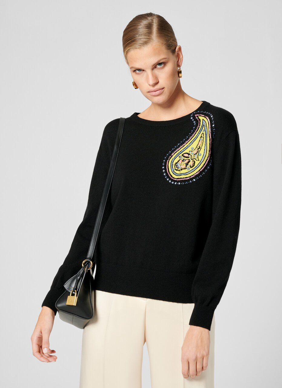 ESCADA Cashmere Cotton Embroidered Sweater