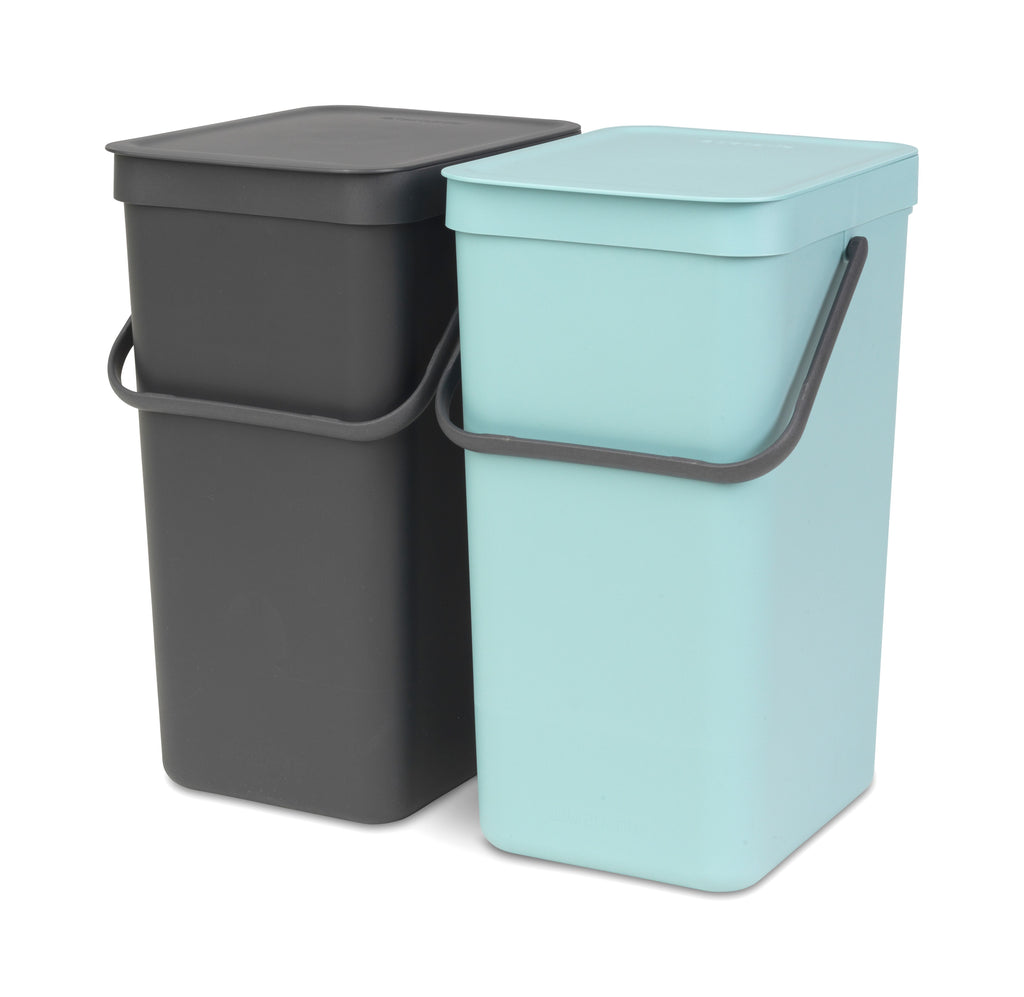 Built-In Sort & Go Waste Bin 2 x 16 litre - Mint and Grey