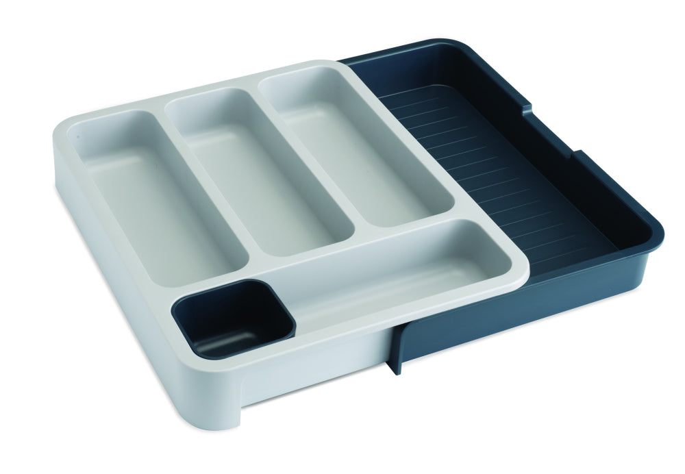 DrawerStore™ Expanding Cutlery Tray - Grey/ Dark Grey