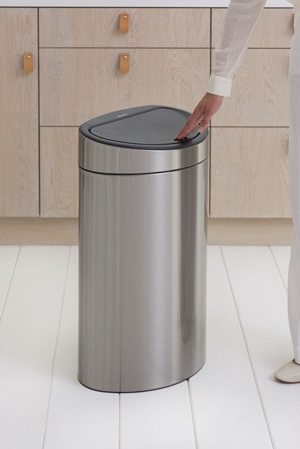 Touch Bin New 40 Litre - Fingerprint Proof Matt Steel