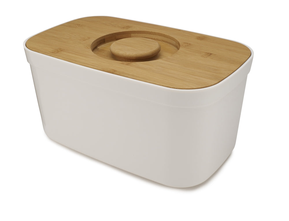 Bread Bin with Cutting Board Lid - White