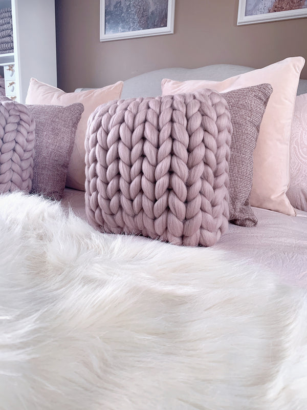 Merino Chunky Knit Cushion (Small)