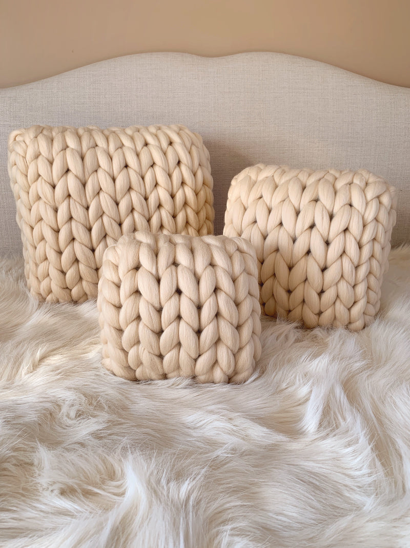 Merino Chunky Knit Cushion (Medium)