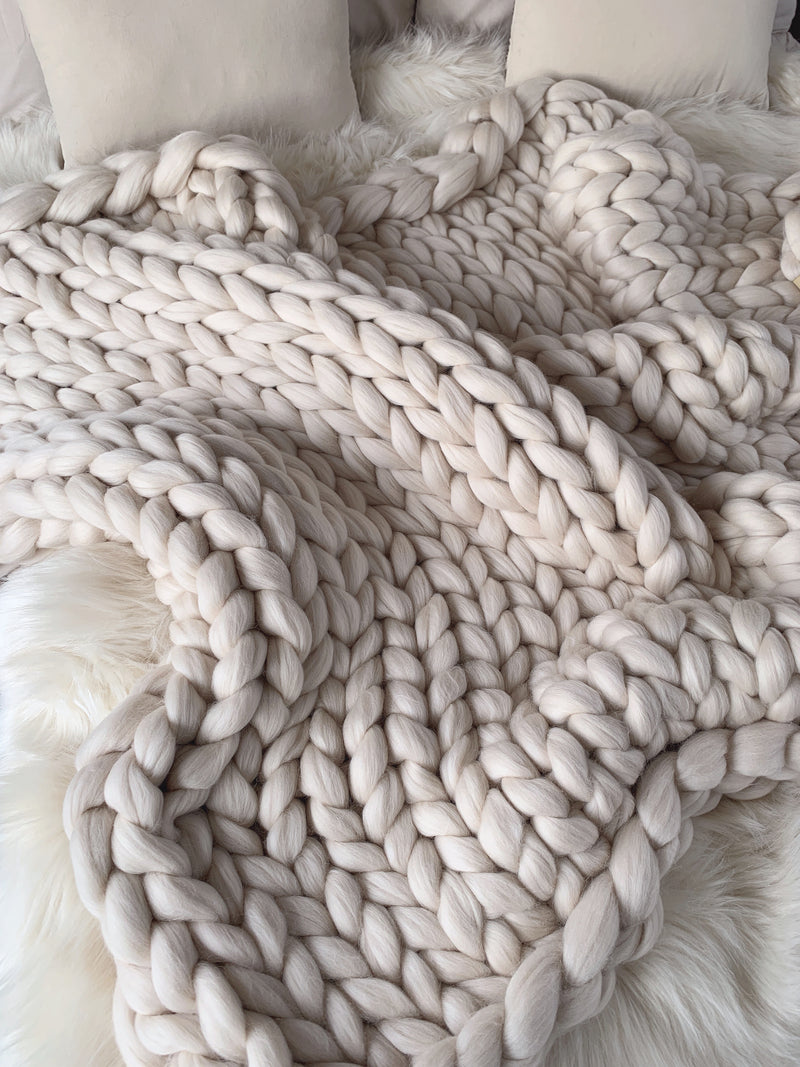 Merino Chunky Knit Blanket (Large)