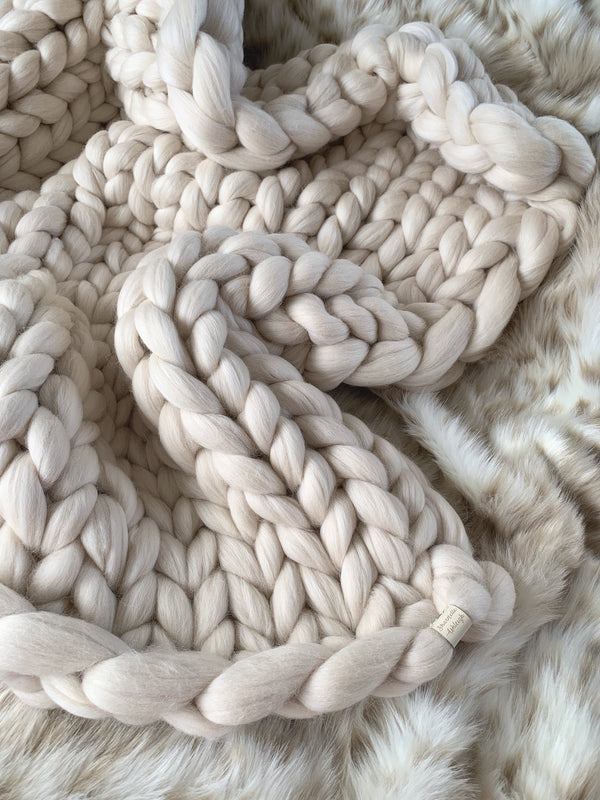 Merino Chunky Knit Blanket (Small)