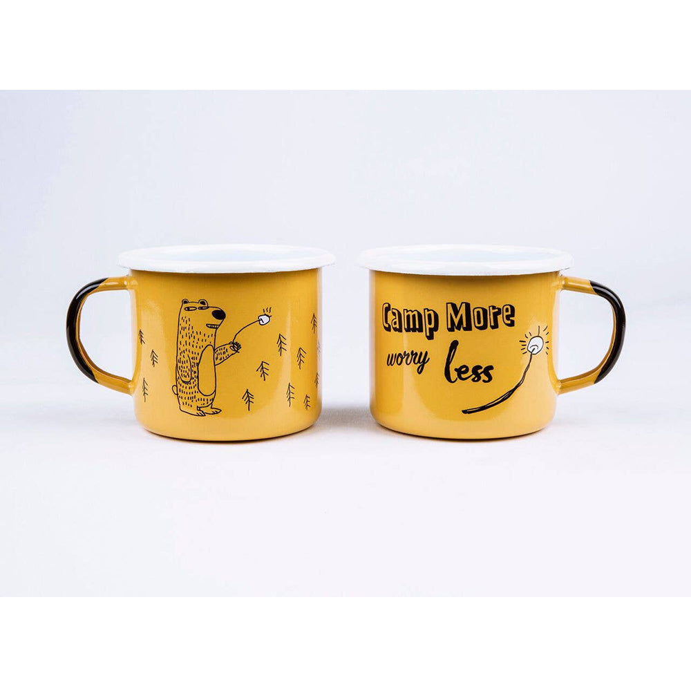 Sierra Outfitters Co. Camp More Worry Less Enamel Mug <br> 黃色小熊琺瑯杯