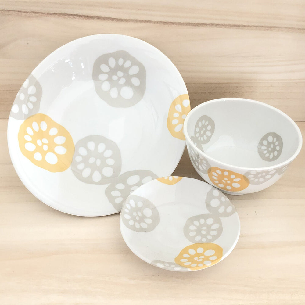 Yamagotouki Light-Weight Yellow Hanko Tableware <br> 日本製 黃印章系列 大盤/小盤/中碗