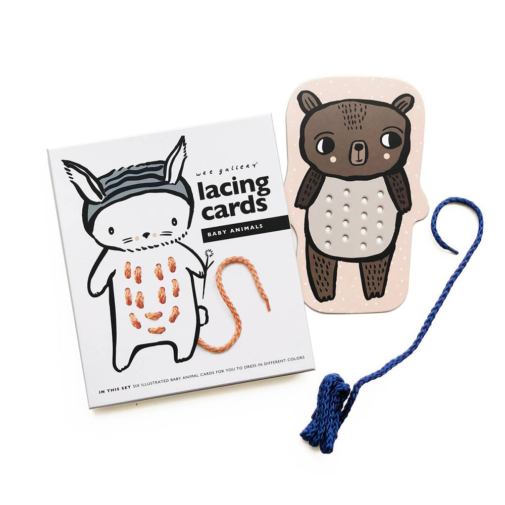 Wee Gallery Lacing Cards - Baby Animals 動物寶貝繫帶卡