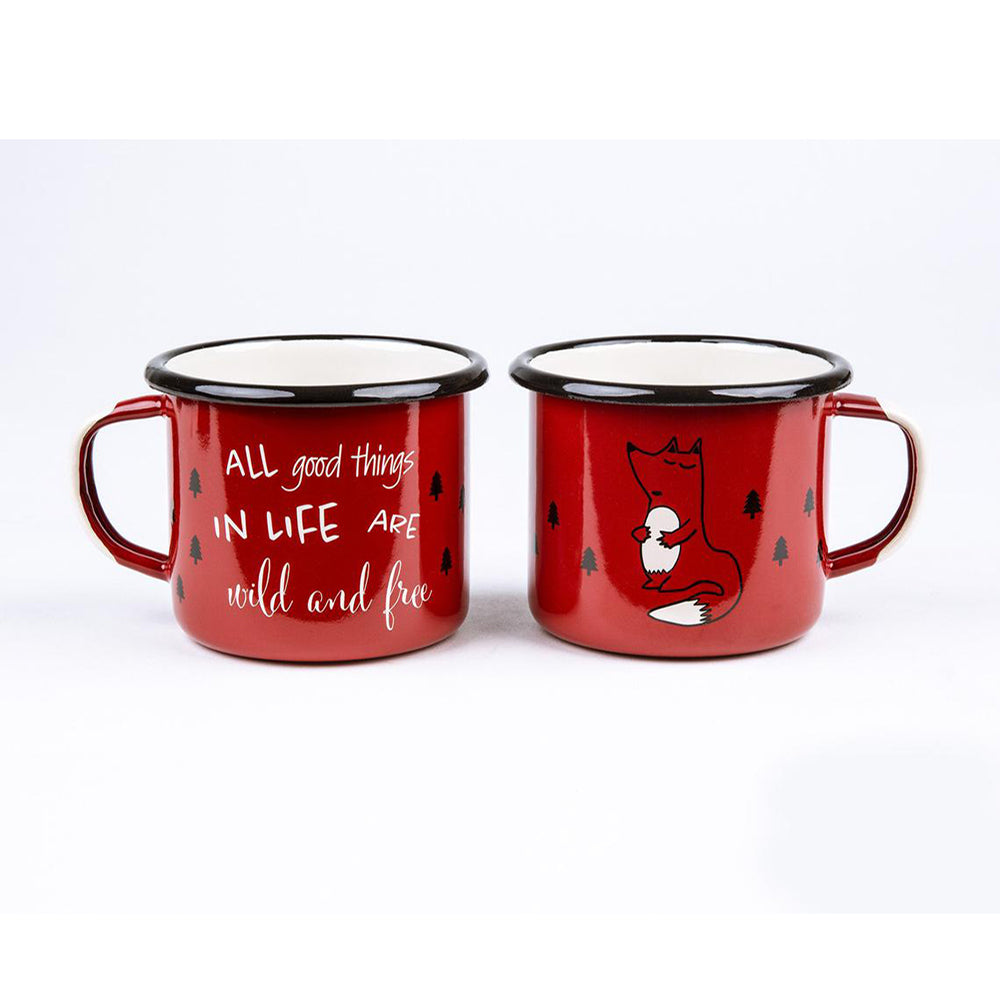 Sierra Outfitters Co. All Good Things in Life Enamel Mug <br> 紅色狐狸琺瑯杯