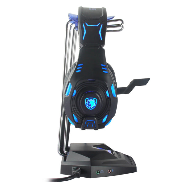 Sades USB Headset Stand Holder With 3 USB Ports and 3.5mm Headphone and Mic Output port