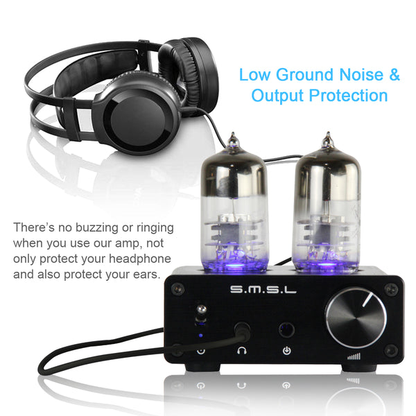 SMSL T2 2X6J9 Super Low Ground Noise Vacuum Tube Headphone Amplifier, Integrated Tube Amplifier, Audio, HIFI, Stereo, Output Protection for Headphone