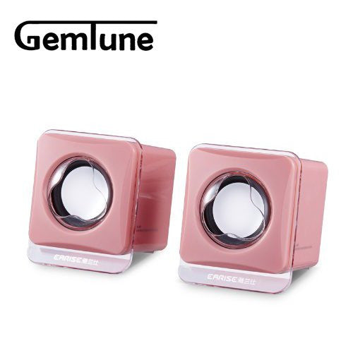 Portable Mini Computer Speakers(Pink), EARISE AL-203, High-fidelity USB Acoustics System, Powered by USB, for Laptops and Desktops, Cube Speakers