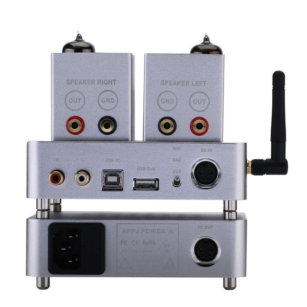 Gemtune APPJ PA1601A wiFI 6P14+6J1 tube amplifier,AUX/Smart Phone/SD Card/PC/Flash Disk Input (Silver)