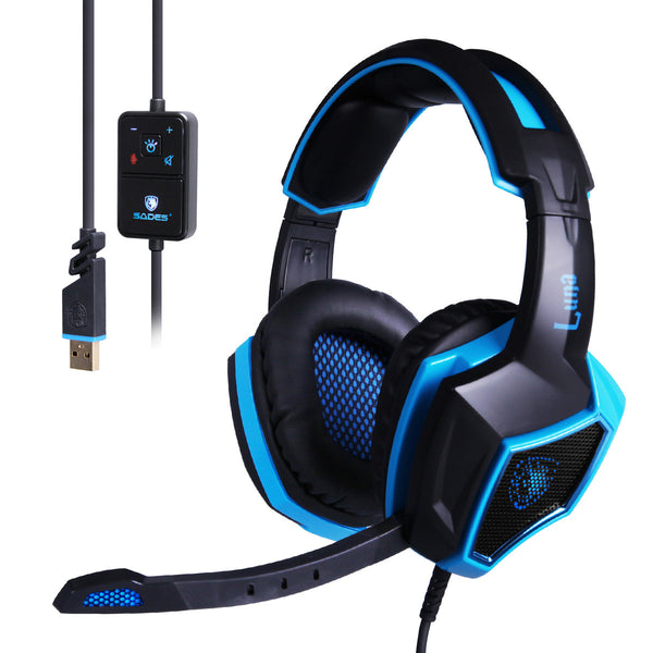 Sades Zeldathon Cures Go4zelda  7.1 Surround Sound Stereo USB Wired PC Gaming Headset with Microphone(LUNA)