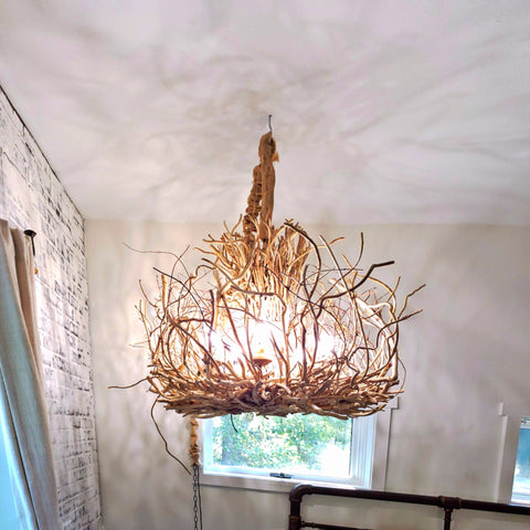 Large Rustic Twig Chandelier, 6 light Branch Chandelier, Tacoma Honeysuckle Vine Chandelier