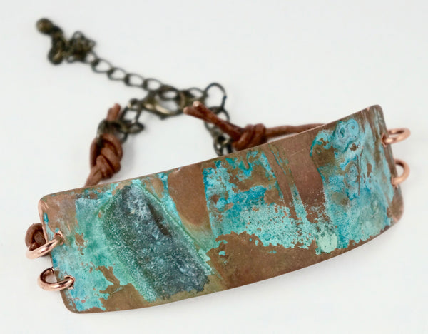Verdigris Patina Copper Leather Bracelet