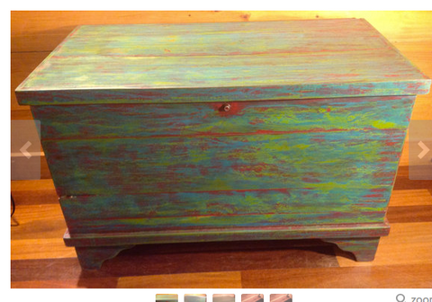 SOLD!  Painted Distressed Cedar Trunk