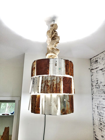 Rustic Rusted Corrugated Metal Pendant Light, Pendant Light, Metal Pendant Light