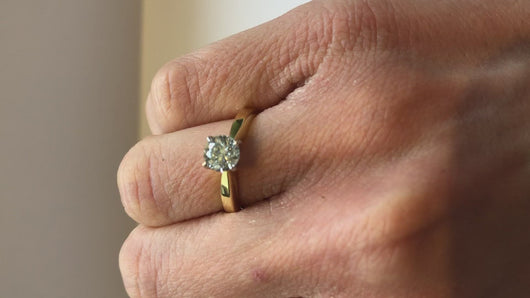 Diamond Yellow Gold Solitaire Ring Video