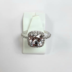 9ct White Gold Hallmarked Cubic Zirconia Ring - Product Code - VX28
