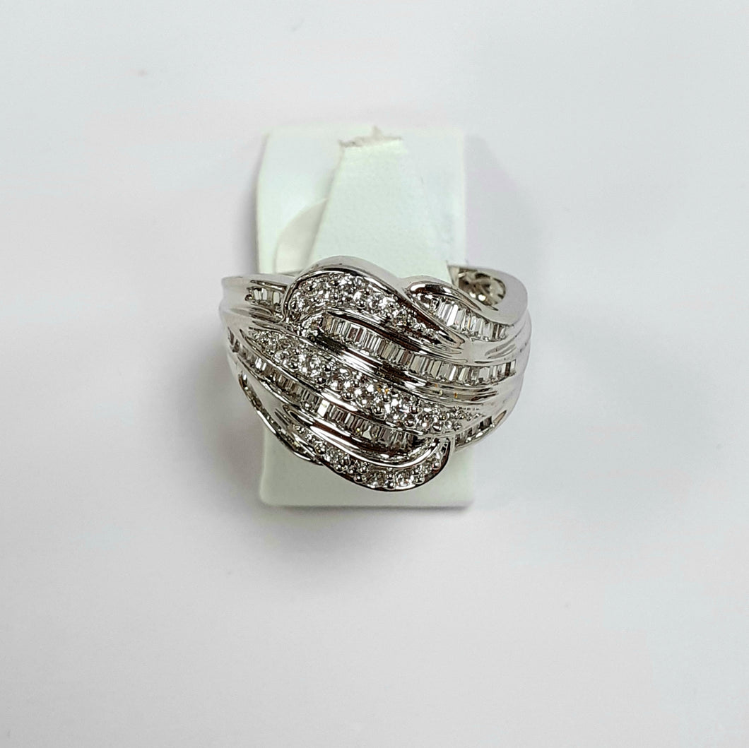 9ct White Gold Hallmarked Cubic Zirconia Ring - Product Code - L915