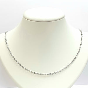 9ct White Gold Hallmarked Chain - Product Code - J640