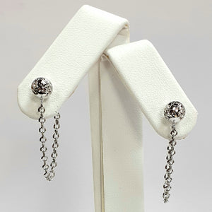9ct White Gold Hallmarked Earrings - Product Code - VX271