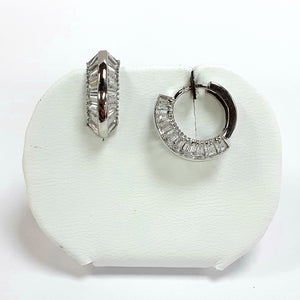 9ct White Gold Hallmarked Earrings - Product Code - VX885