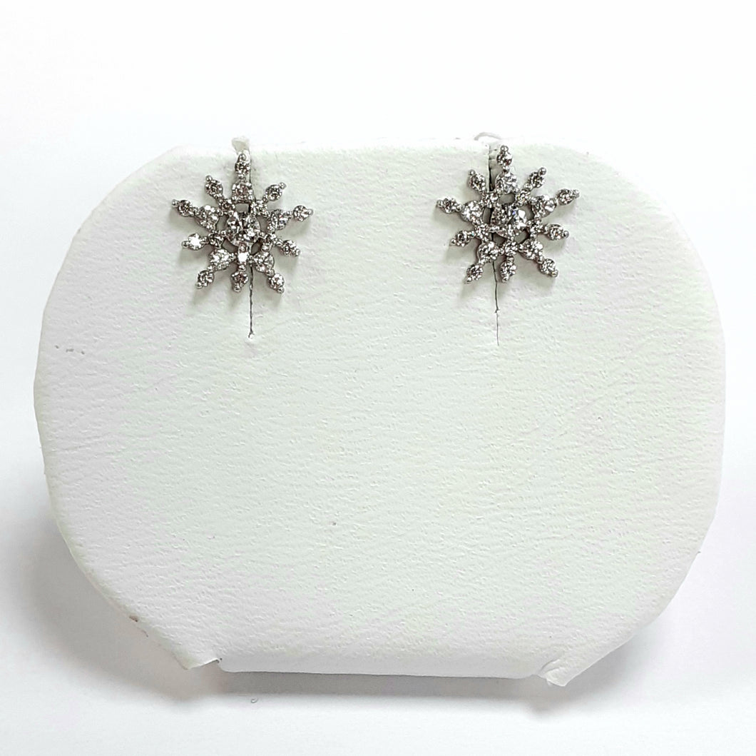9ct White Gold Hallmarked Earrings - Product Code - C717