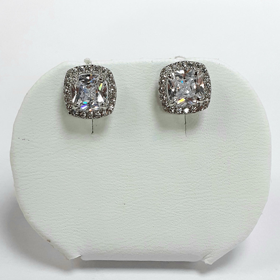 9ct White Gold Hallmarked Earrings - Product Code - VX889