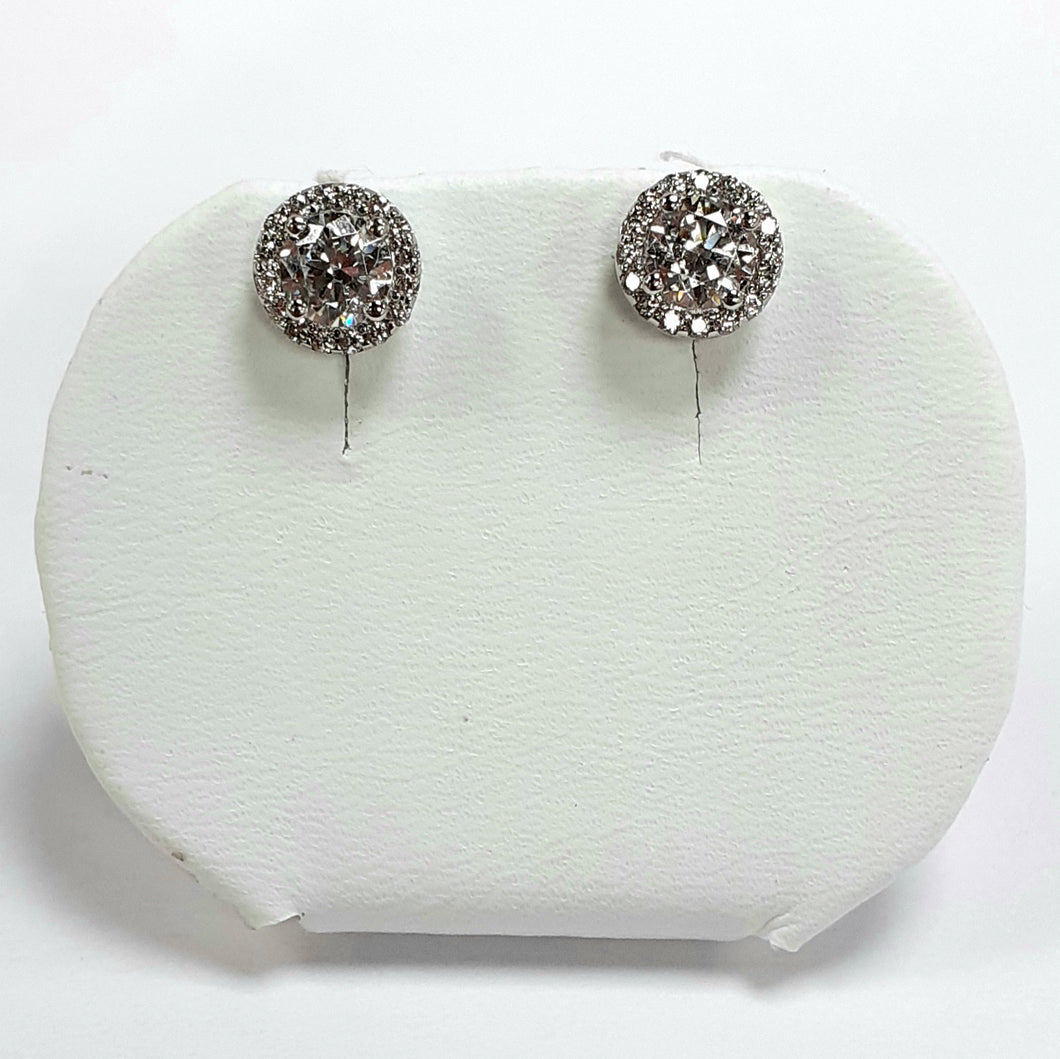 9ct White Gold Hallmarked Earrings - Product Code - VX99